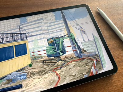 Construction Site 🚧 switzerland zurich pankdesigns pank.in pankaj juvekar urban sketch urban sketching ipadprocreate procreateapp procreate art ipadpro procreate illustration art illustration illustrator bulldozer construction