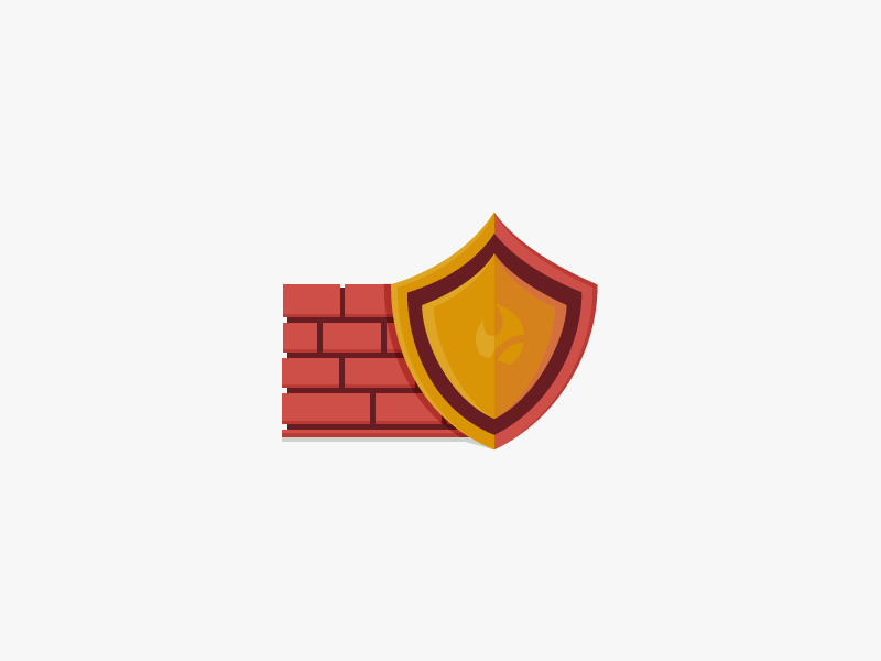 Firewall flatdesign shield bricks design graphic firewall icon