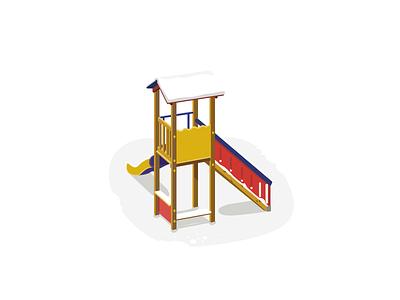 Snow & Slide illustration flat design kids slide slope snow