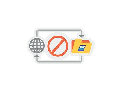 No Local Cache web folder icon design flat design iconography forbidden local cache