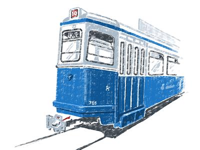Vintage Tram - 2 transport illustration zurich tram