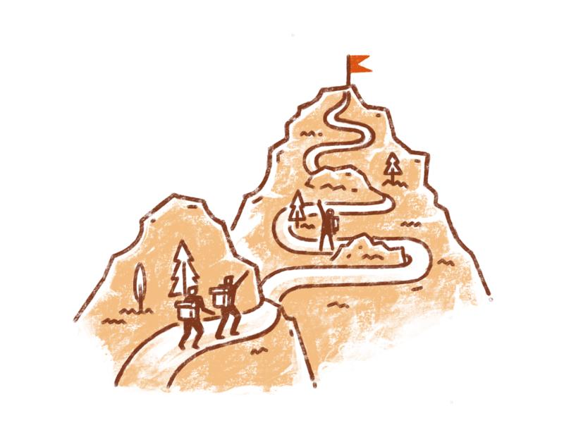 Team Goal ipadpro trekking mountains procreate illustration team goal