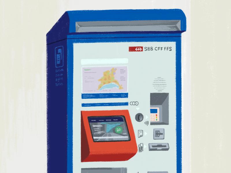 SBB Ticket Machine ❤️ swiss design ipad pro procreate app procreate illustration sbb cff ffs sbb