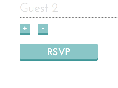 Snippet of a wedding RSVP form form 3d buttons