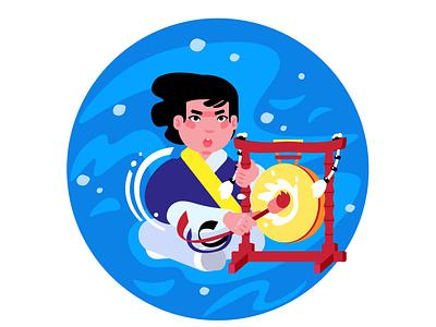 Samul Nori musician plays jing character illustration illustration 2d music south korea adobe illustrator character design flat design