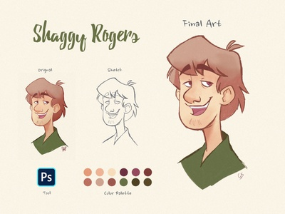 Shaggy Rogers - Fictional character shaggy brush drawing cartoon art character design character