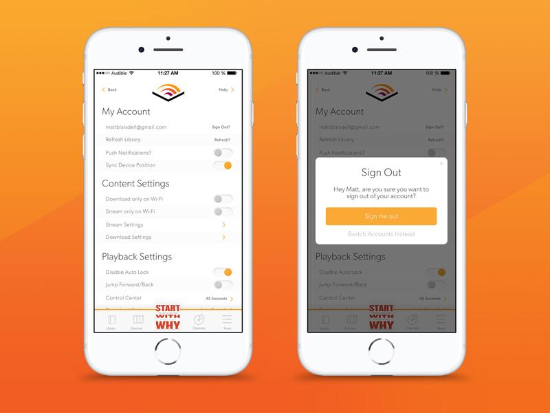 Audible Settings ebook mobile web ux design settings ui audible