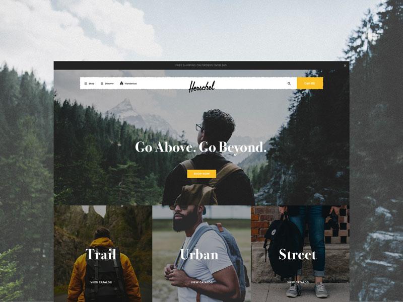 Go Above. Go Beyond web design backpack herschel interactive ui web