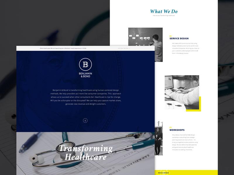 Benjamin & Bond Landing Page web ui design landing page website