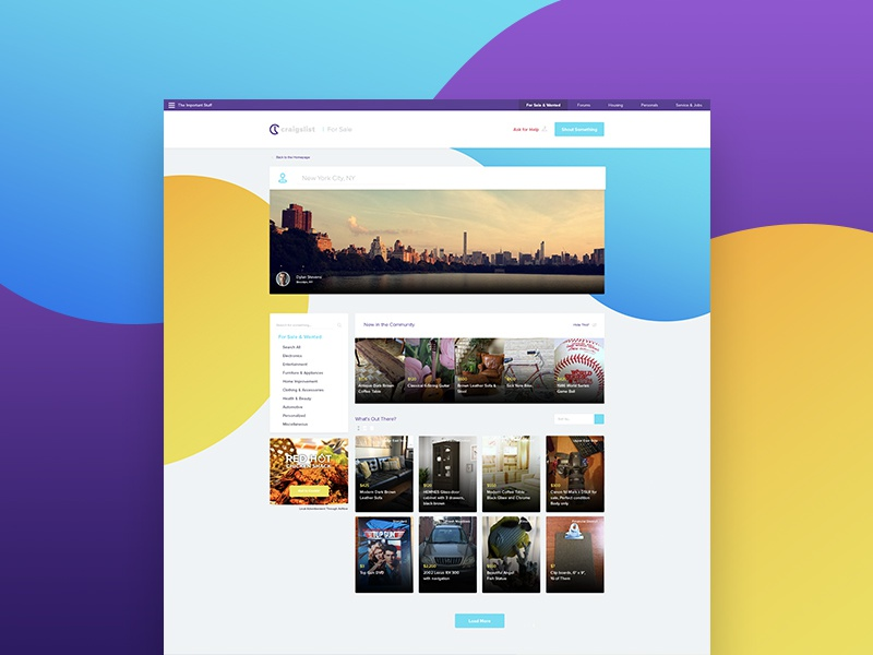Rethinking Craigslist redesign craigslist webdesign concept ecommerce web ui design landing page website