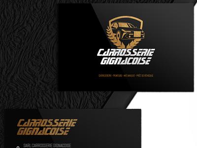 Logo Carrosserie Gignacoise carte de visite redesign identity branding mockup agencenomade design branding logo