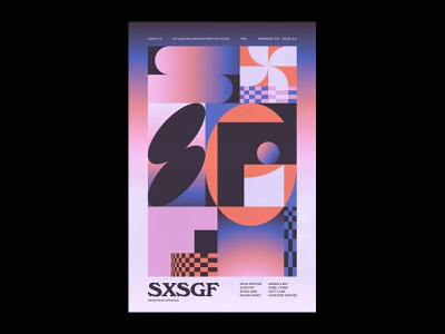 SXSGF print layout shapes typography show poster festival band music flyer poster design