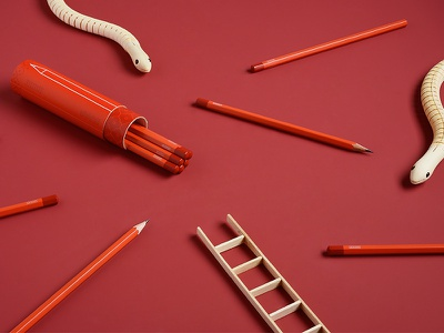 Snakes & Ladders packaging color notebooks product product design pencils photography design