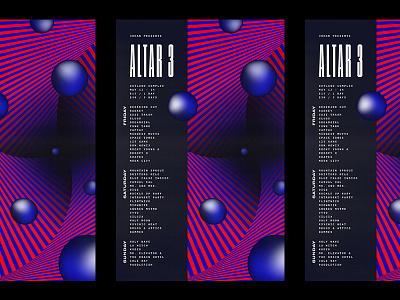 Altar 3 op art festival abstract psychedelic poster design flyer poster design music festival