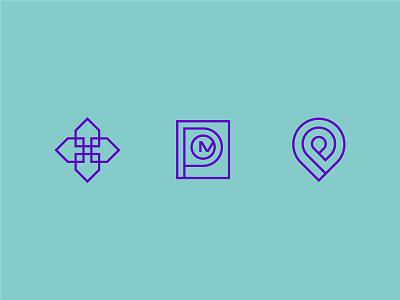 Mystery Marks abstract shape color logomark design icon monogram care home technology symbol logo