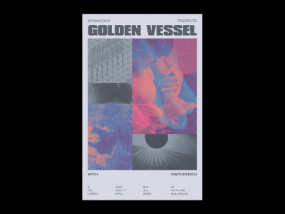 Golden Vessel collage band music gradient abstract typography layout flyer show poster poster