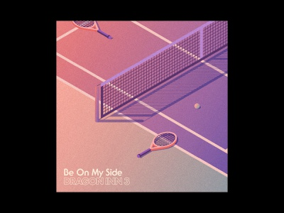 Be On My Side — Sketch 02 gradient sunset isometric tennis 80s album art album cover design music illustration typography design