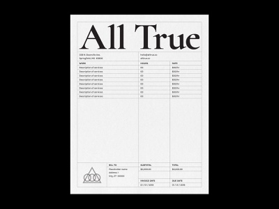 All True Invoice design collateral branding typography grid layout print invoice