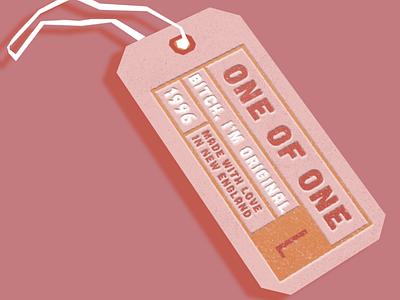 One of One, B clothing tag branding minimal design vector graphic design illustration new england cheeky bazzi bazzi lyrics singles day pink love vintage tag mockup