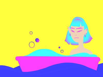 Saturdays procreate art gradients shape design asianamerican girl colorful procreate graphic design illustration