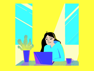 Work From Home Fooorever! saturated art bright colors septum piercing procreate art procreate 5x gradients eyes animation blinking animation graphic designer desk job home office work from home animation motion graphic covid19 work from home wfh