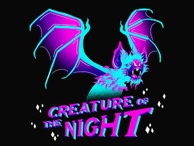Creature of the Night fall autumn october design spooky gradients lettering art lettering typogaphy streetart bats halloween graphic design illustration