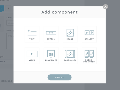 Add Component Modal gallery showtimes carrousel cms icons