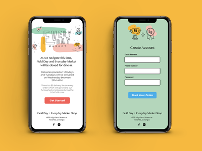 Field Day + Everyday Online Ordering App colors pastel order signup page atlanta local business restaurant ui branding