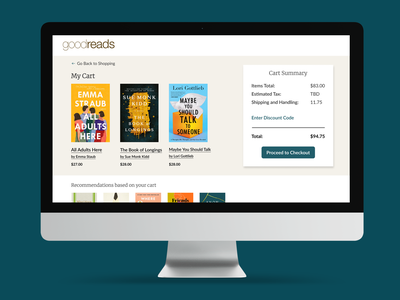 Goodreads Cart and Checkout Page books checkout cart goodreads design colors