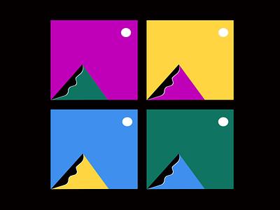 We're all looking at the same moon. colorblock bauhaus geometric shapes vectors illustration atlanta design colors