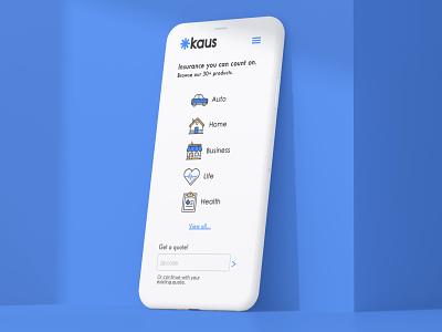 Kaus Insurance Rebranding and UX Design mobile icon typography ux insurance ui logo branding design