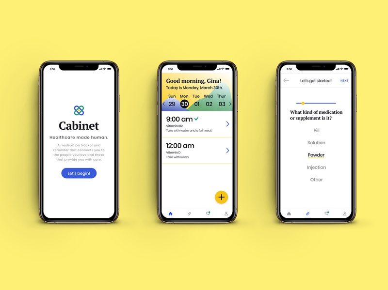Cabinet Health Medication App Concept atlanta branding wellness medication health app colors vector logo icon typography ux ui design