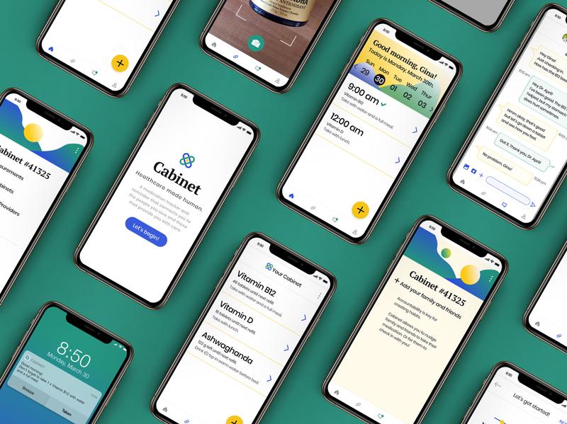 Cabinet Health medicine logo medication app wellness health app atlanta app vector shapes icon typography ui ux logo branding colors design
