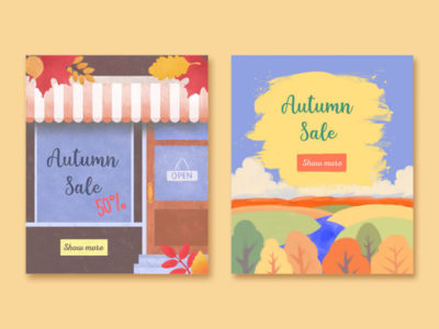 Illustrations for web banners nature art sale autumn web banner design web illustration banner