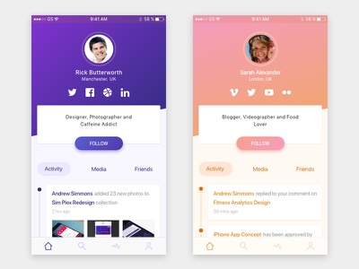 Profile Concept adobe xd ios activity app concept profile