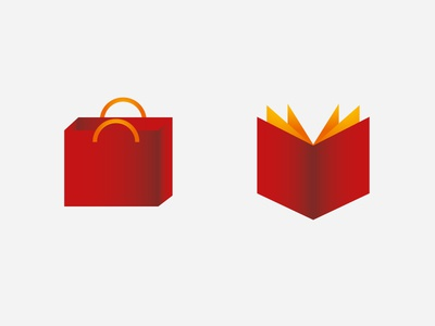 Shopping bag and book icon music shopping bag vector artwork open book book illustraion ai icon vector