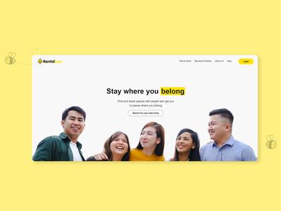 Rentalbee PH - Homepage website aesthetic simple bee desktop manila philippines rentalbee