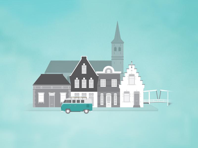 Sweet small village village town illustrator web