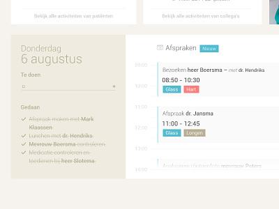 Anamnese Tasklist anamnese web ux clean application timeline minimal checklist calender ui flat button