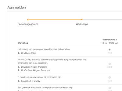 Form concept session information form interface web timeline check