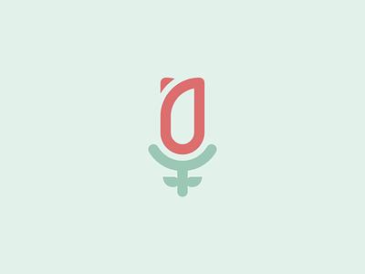 Logo concept Voice-over Artist microphone tulip green flat concept logo