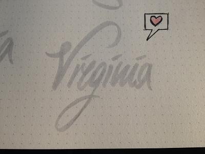 Virginia - Pratice lettering calligraphy writing hand writing paper brush pratice