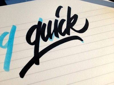 Quick  lettering calligraphy writing hand writing paper brush pratice