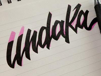 Undaka lettering calligraphy writing hand writing paper brush pratice