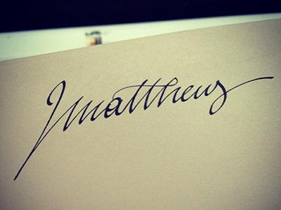 Mattheus lettering calligraphy writing hand writing paper brush pratice
