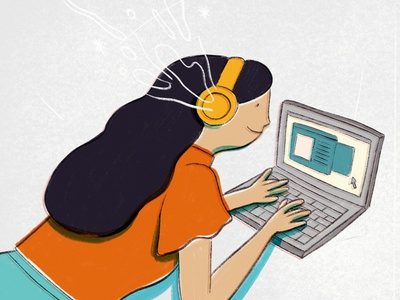 Tappy Tap on the keyboard editorial magazine article headphone music illustration