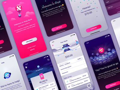 Xinja app banking mobile banking illustration design vector app ui