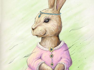Miss Rabbit - stage 2 steven skadal digital painting sketch rabbit pencil illustration drawing digital art