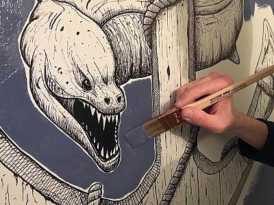 Eel & Anchor Wall Mural - SNEAK PEEK steven skadal wall art molotow ink paint illustration painting mural wall art