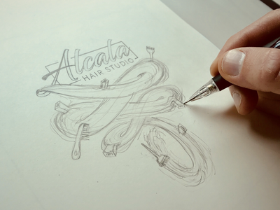 Wall Art for Alcala Hair Studio - sketch steven skadal wall art concept pencil illustration sketch